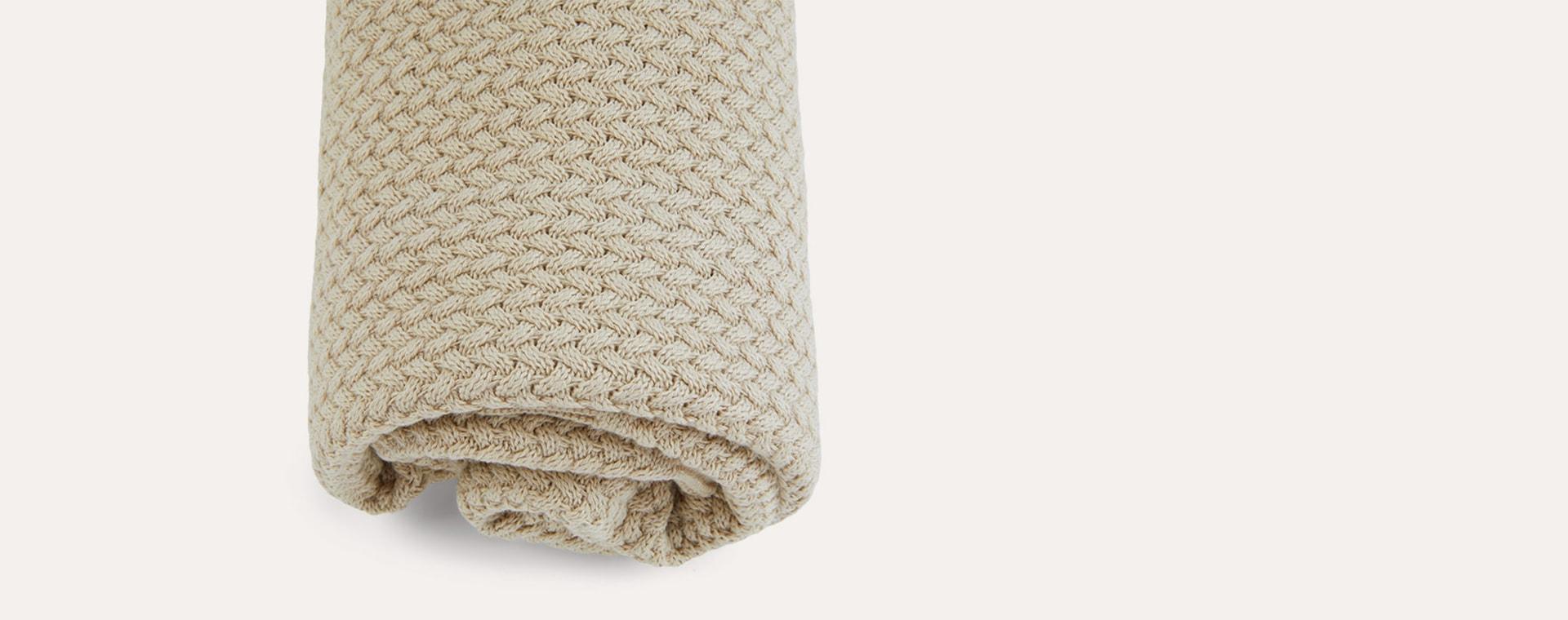 Oat Avery Row Knitted Blanket