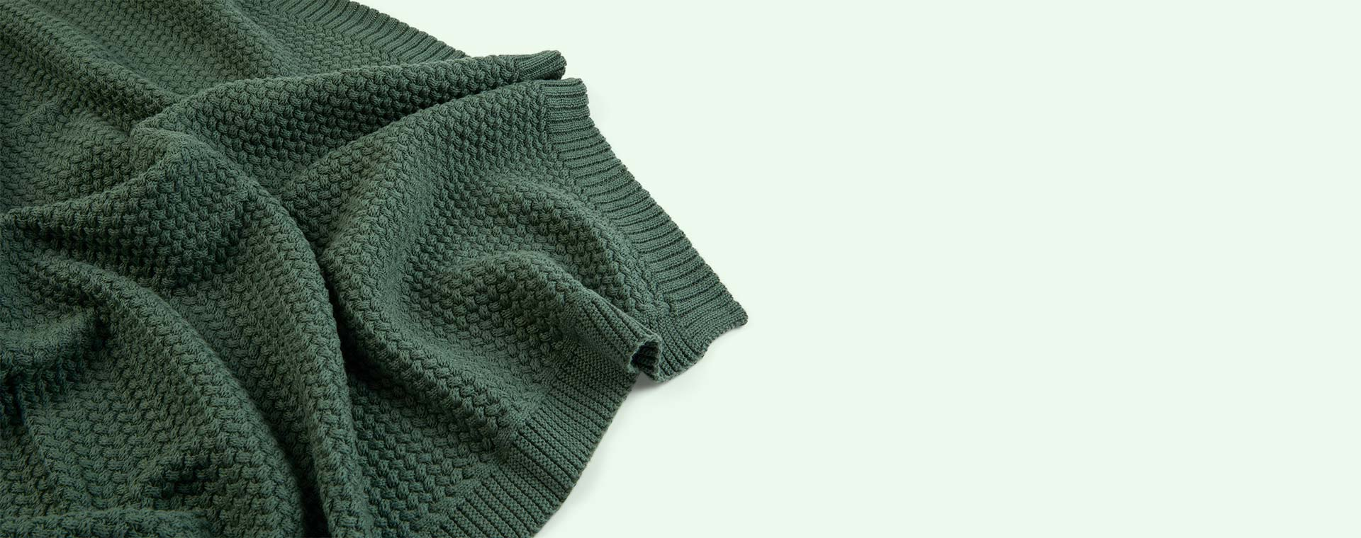 Pine Green Avery Row Knitted Blanket