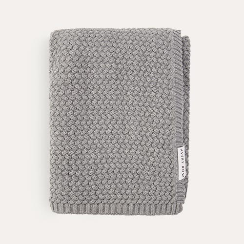 Grey Avery Row Knitted Blanket