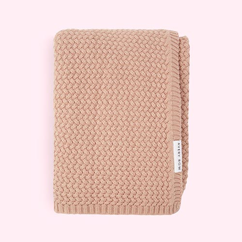 Blush Pink Avery Row Knitted Blanket