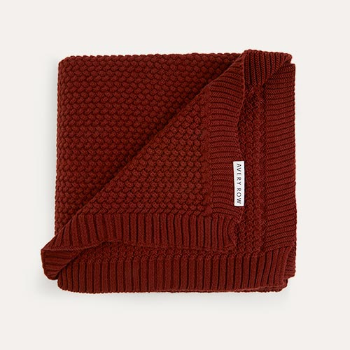 Burnt Sienna Avery Row Knitted Blanket