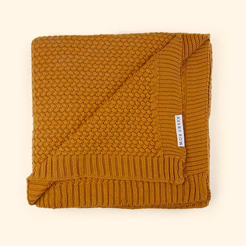 Mustard Avery Row Knitted Blanket