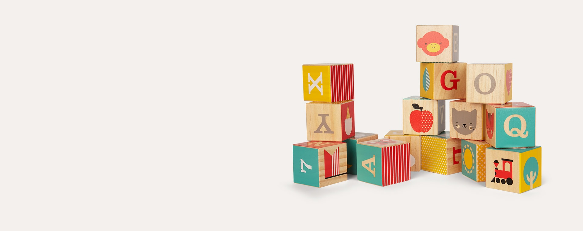 Multi Petit Collage ABC Wooden Blocks