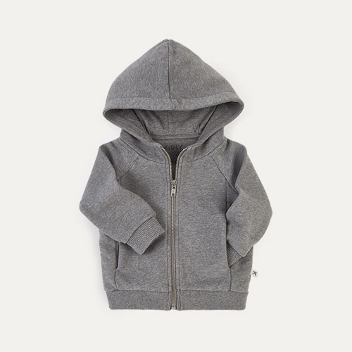 Mid grey Marl KIDLY Label Zip-Through Hoodie
