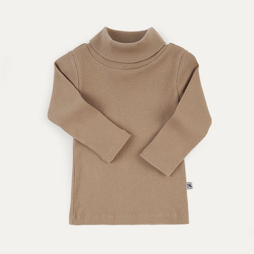 Natural KIDLY Label Ribbed Roll Neck