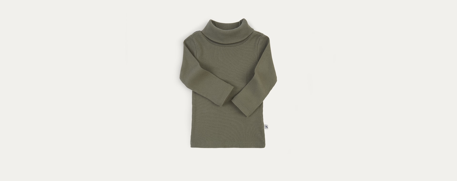 Khaki KIDLY Label Ribbed Roll Neck