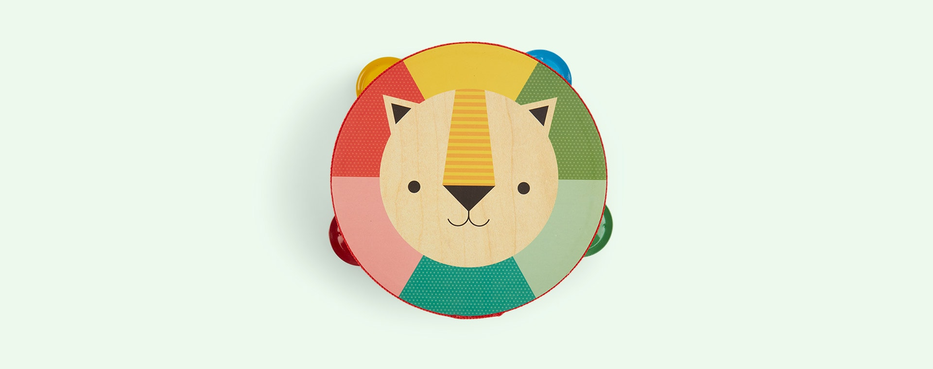 Multi Petit Collage Kaleidoscope Lion Wooden Tambourine