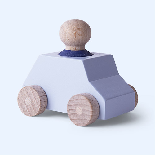 Grey/Blue Lubulona Wooden Toy Car