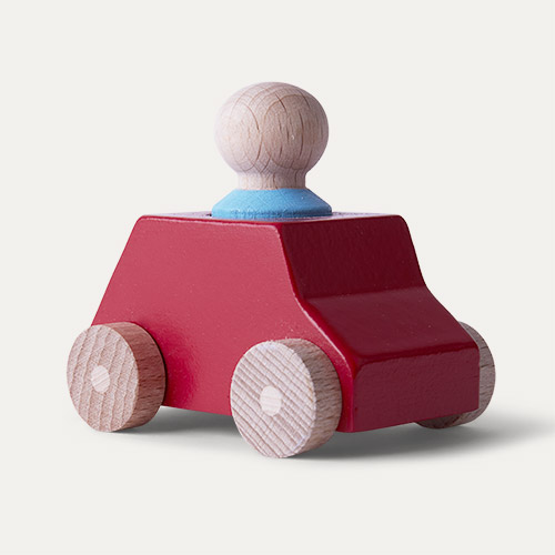 Red/Turquoise Lubulona Wooden Toy Car