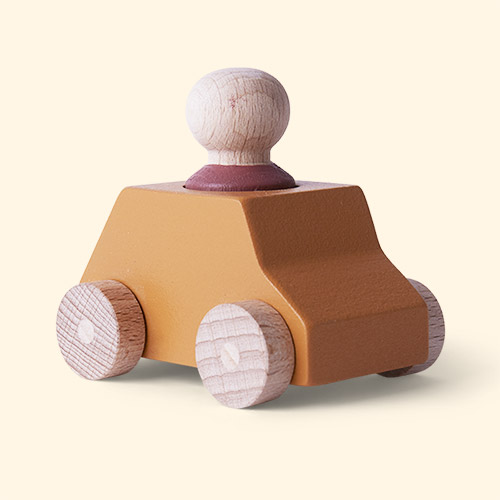 Ochre/Plum Lubulona Wooden Toy Car