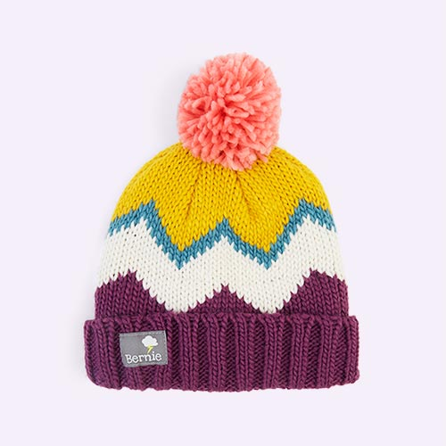Berry Bernie and The Beanpole Berry Chevron Bobble Hat