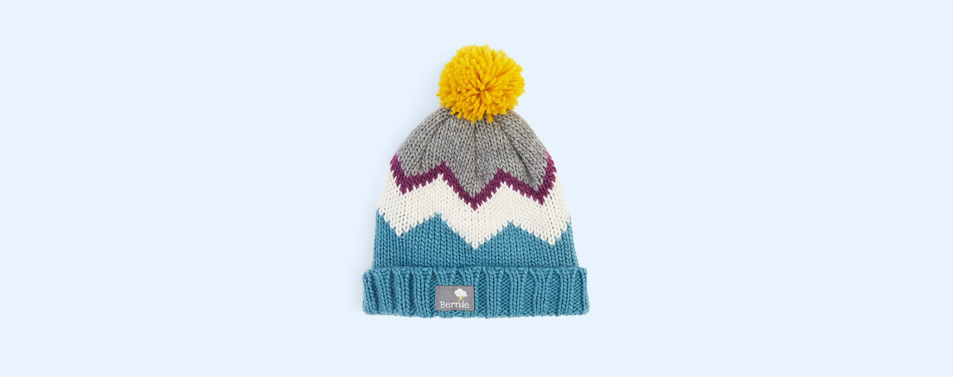 Sky Bernie and The Beanpole Berry Chevron Bobble Hat