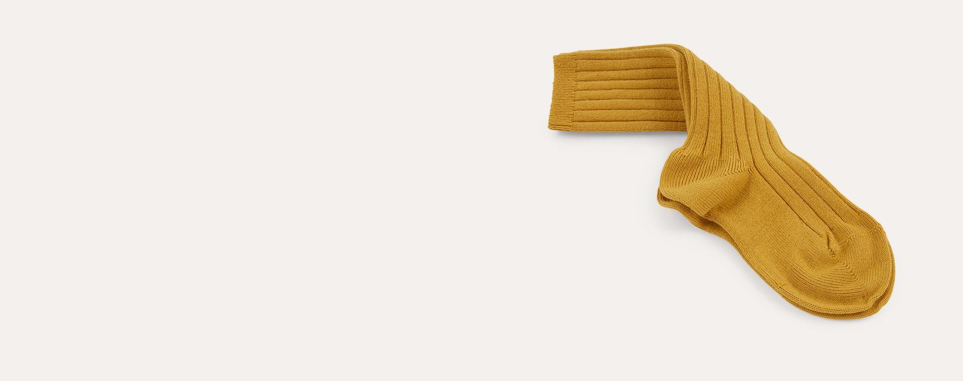 Mustard Condor Ribbed Knee High Socks
