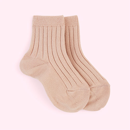 Old Rose Condor Short Ribbed Socks