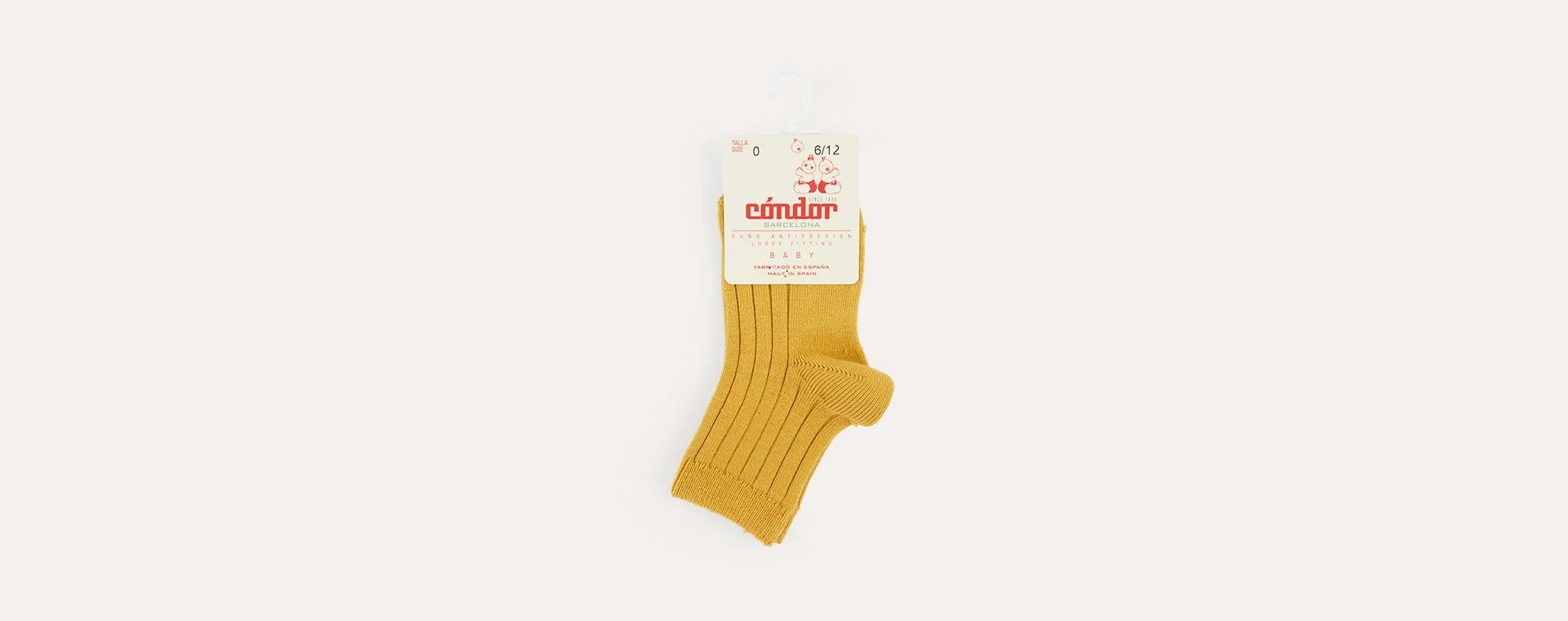 Mustard Condor Short Ribbed Socks