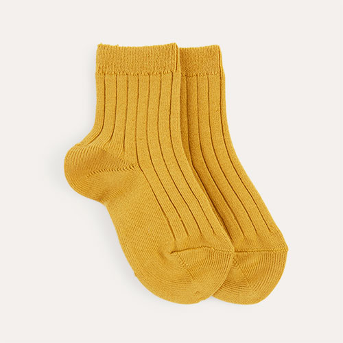 Mustard Condor Short Ribbed Socks