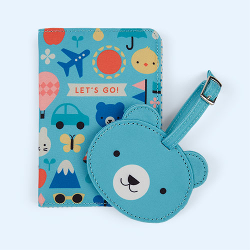 Multi Petit Collage Baby Passport Cover And Luggage Tag Travel Set