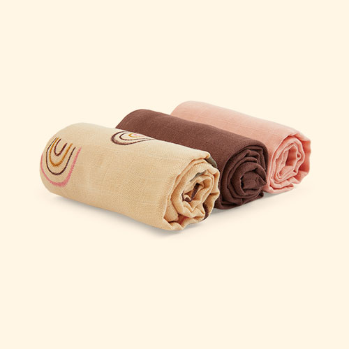 Rainbow OYOY Muslin Square 3 Pack