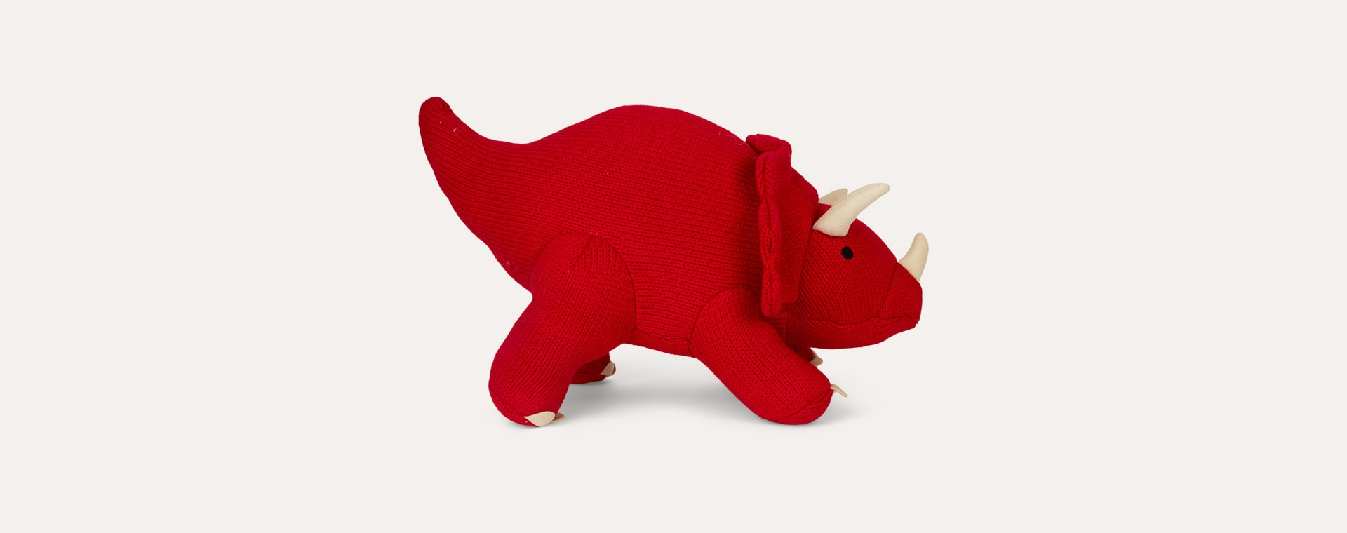 Red Best Years Large Knitted Triceratops Dinosaur
