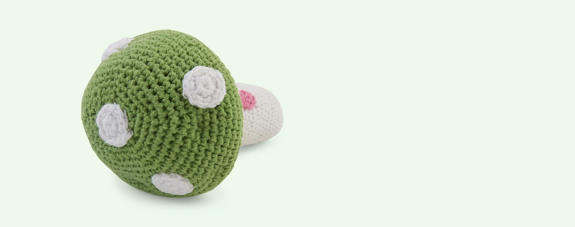 Green Pebble Crochet Friendly Toadstool Baby Rattle