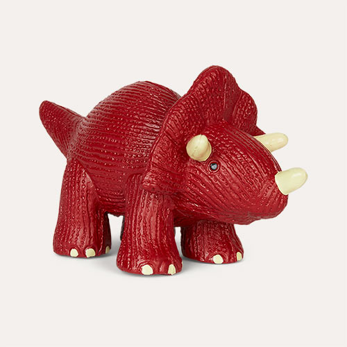 Red Best Years Triceratops Natural Rubber Toy