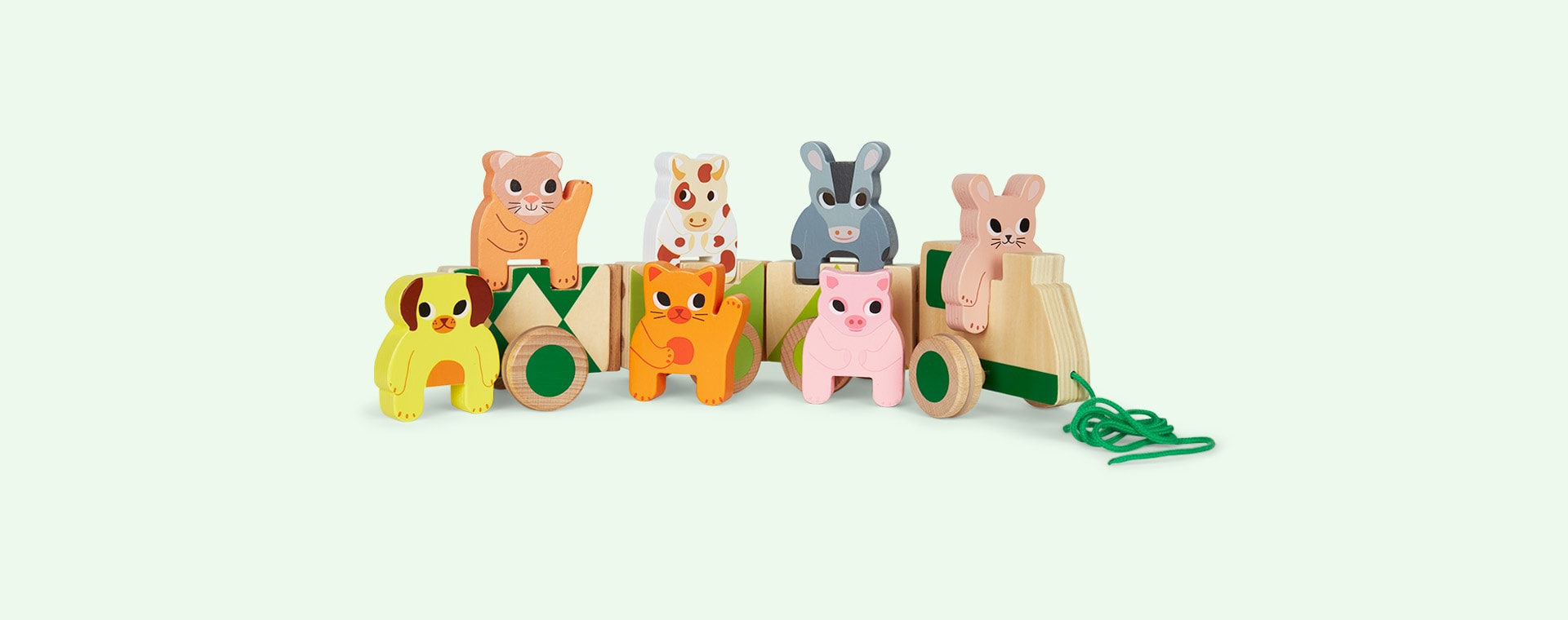 Multi Djeco Pull Along Train With Farm Animals