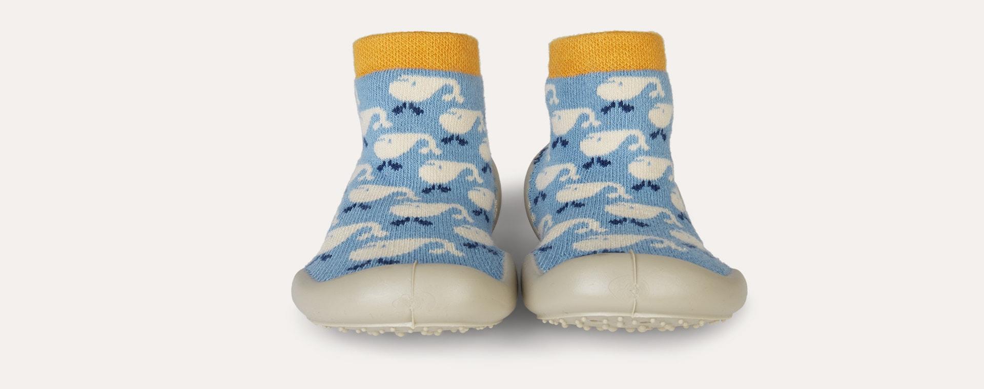 Blue Collegien Whale Slipper Socks