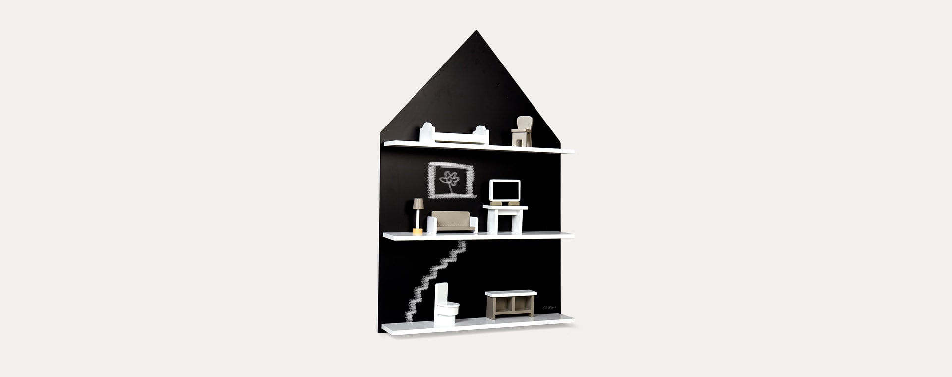Black Childhome Chalkboard House And Shelf