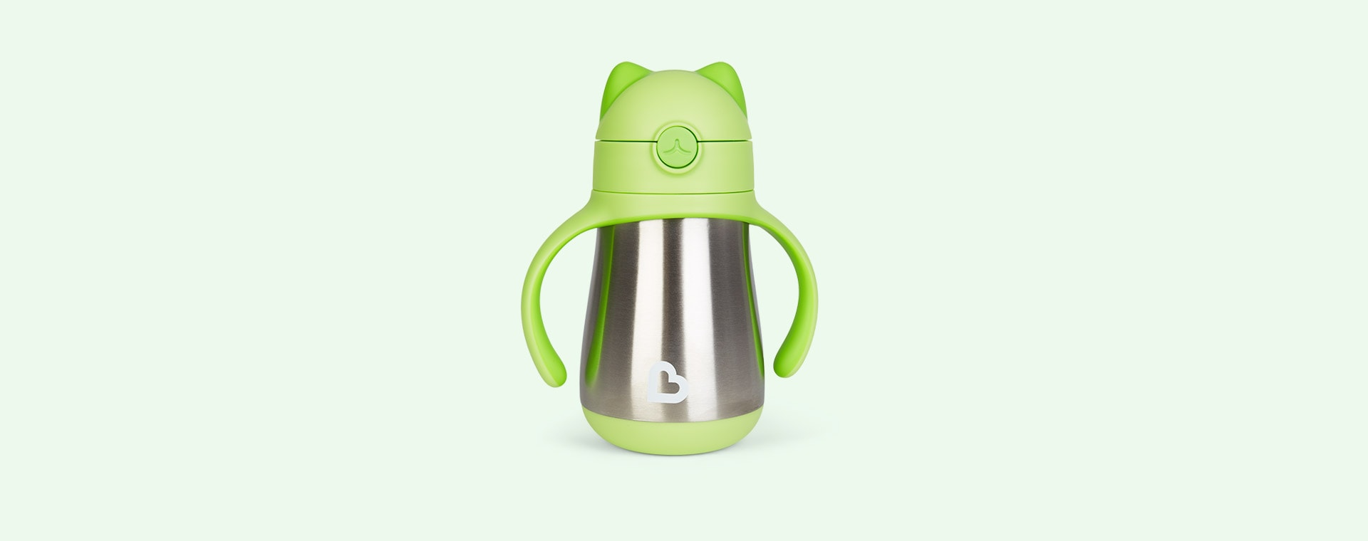 Green Munchkin Cool Cat Stainless Steel Straw Cup
