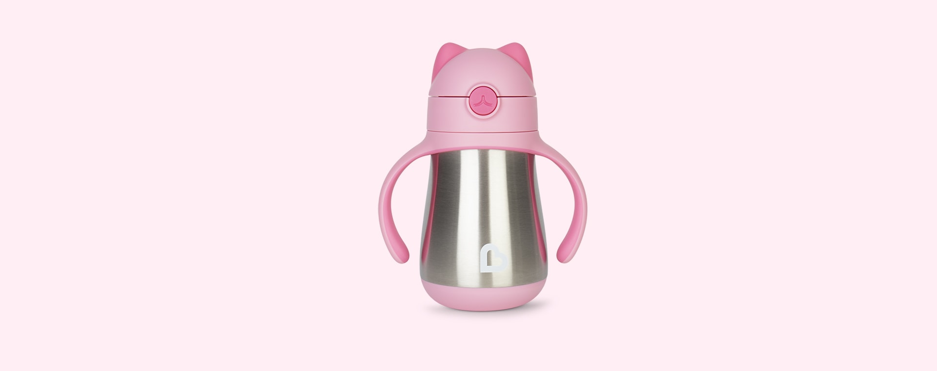 Pink Munchkin Cool Cat Stainless Steel Straw Cup