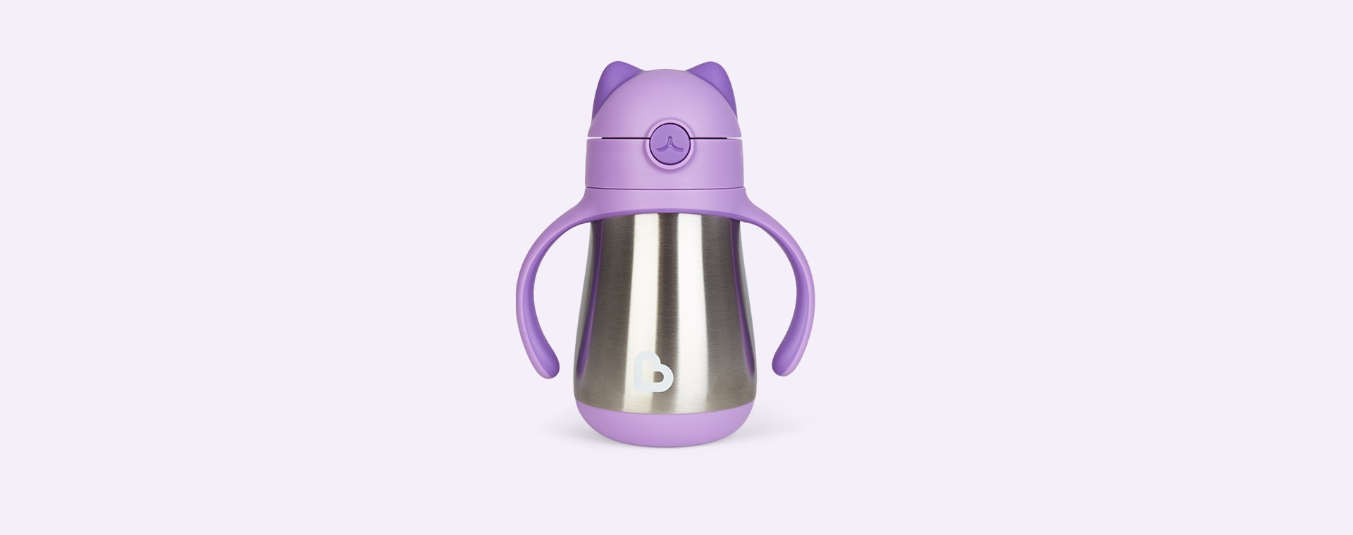 Purple Munchkin Cool Cat Stainless Steel Straw Cup