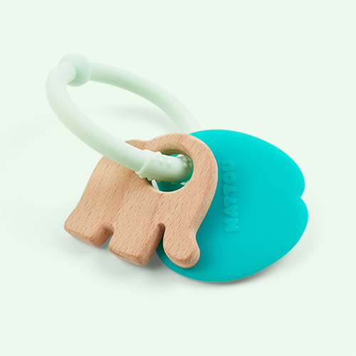 Apple Nattou Silicone Wood Rattle Teether