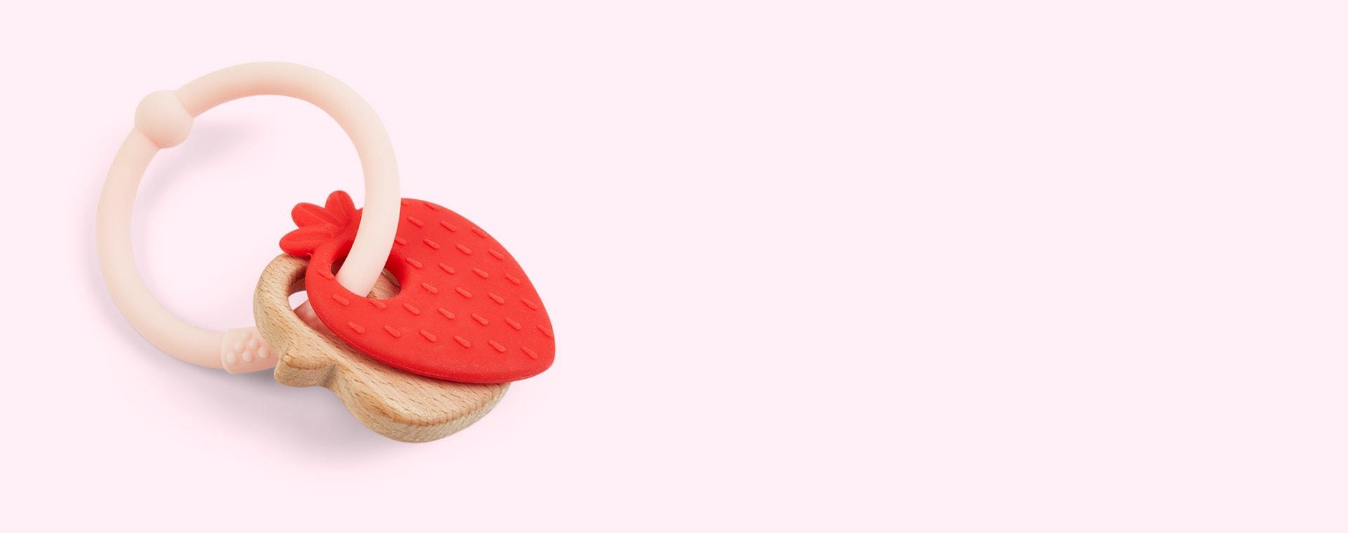 Strawberry Nattou Silicone Wood Rattle Teether