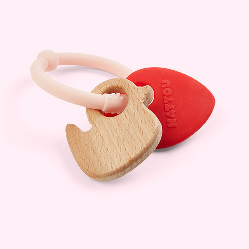 Strawberry Nattou Silicone Wood Rattle Teether