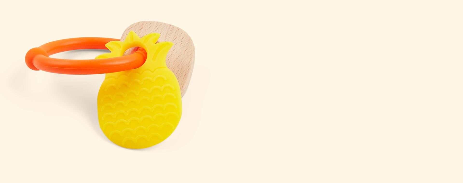 Pineapple Nattou Silicone Wood Rattle Teether