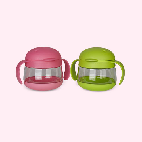Green/Pink ubbi Tweat 2 Piece Snack Container
