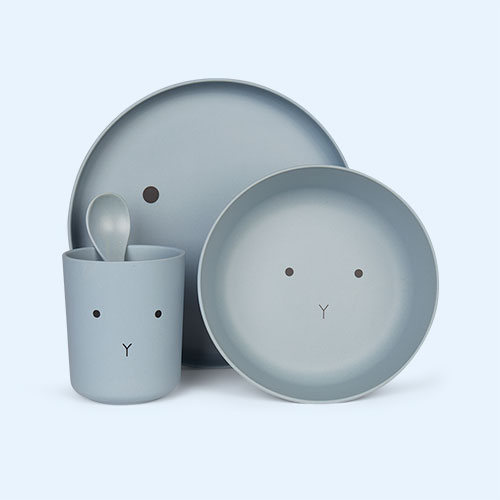 Rabbit Sea Blue Liewood Bamboo Tableware