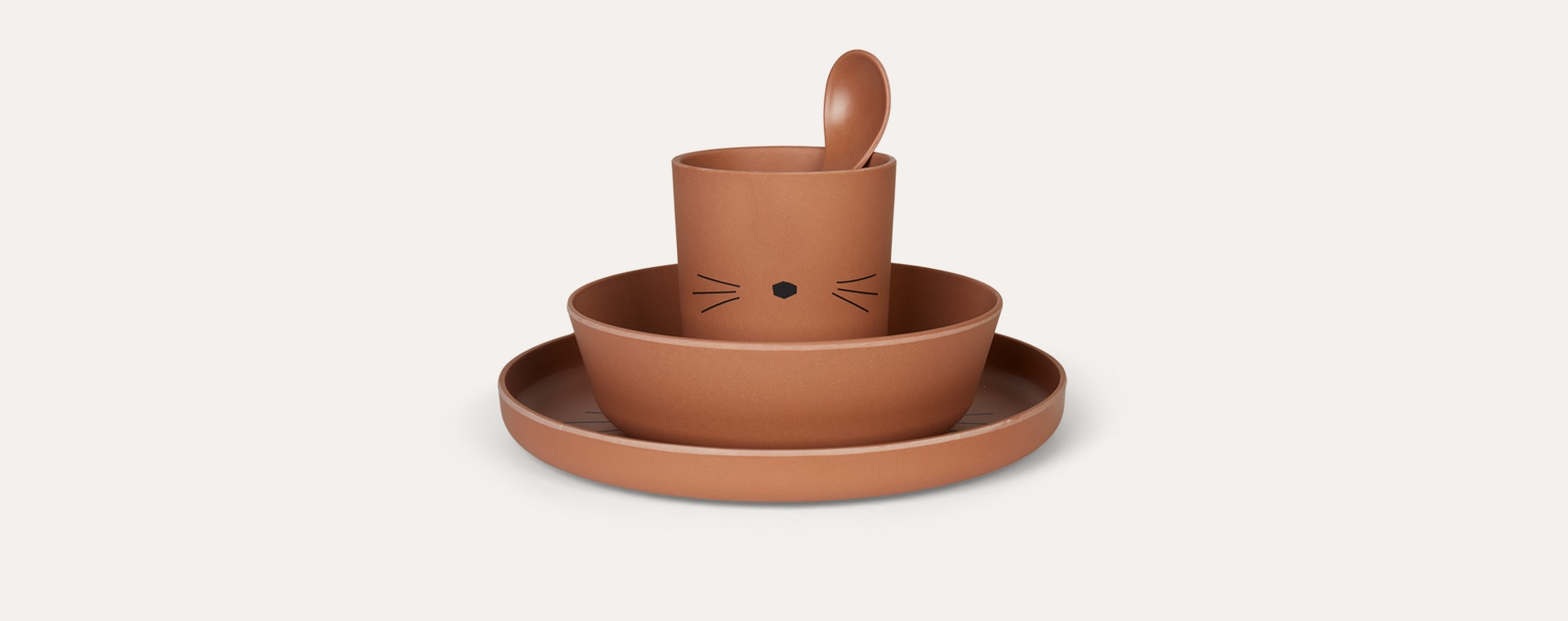 Cat Terracotta Liewood Bamboo Tableware