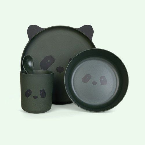 Panda Hunter Green Liewood Bamboo Tableware