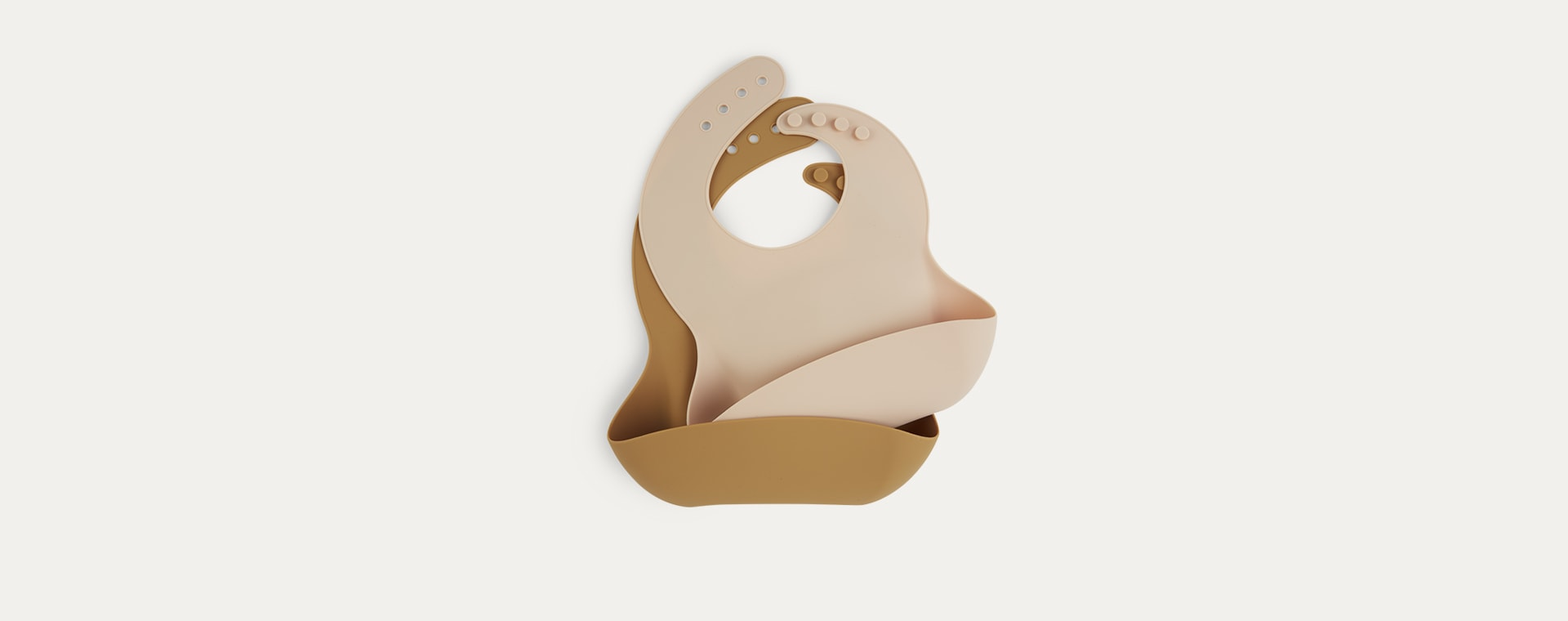 Toffee & Almond KIDLY Label Silicone Bib - 2 Pack