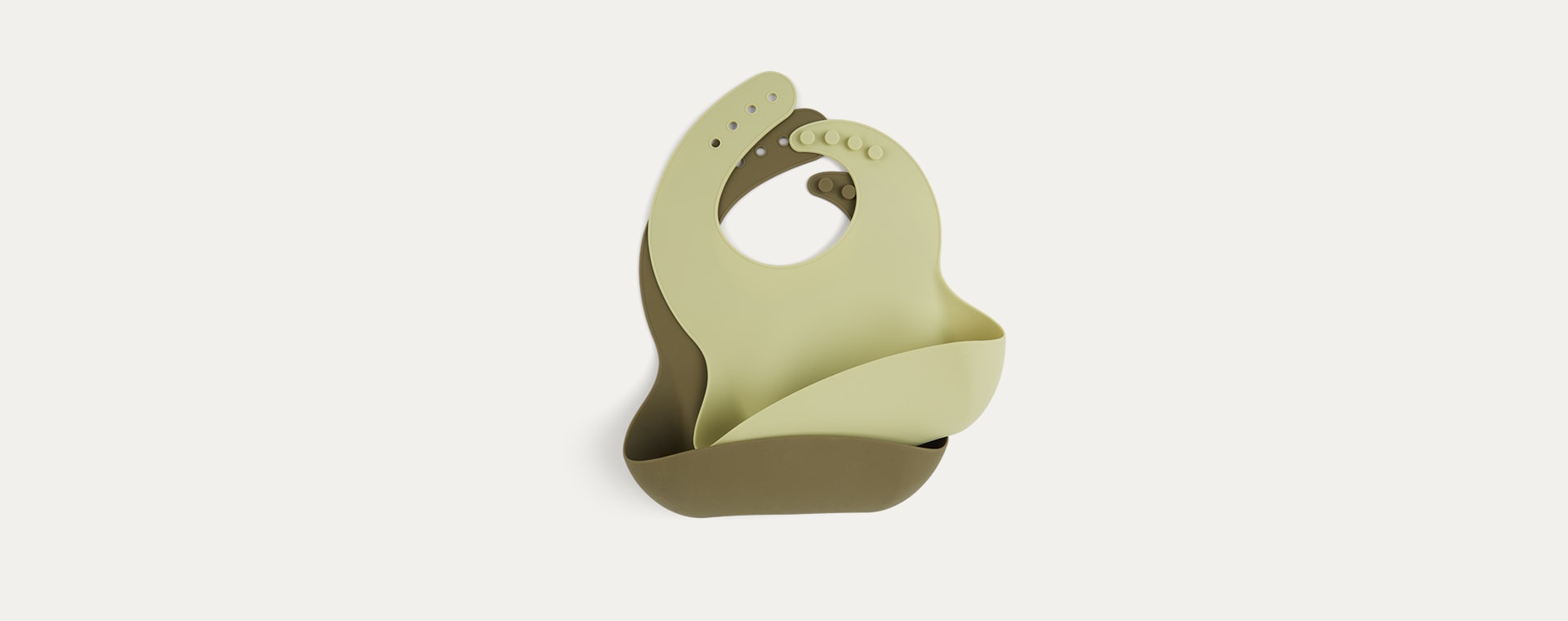 Olive & Pistachio KIDLY Label Silicone Bib - 2 Pack