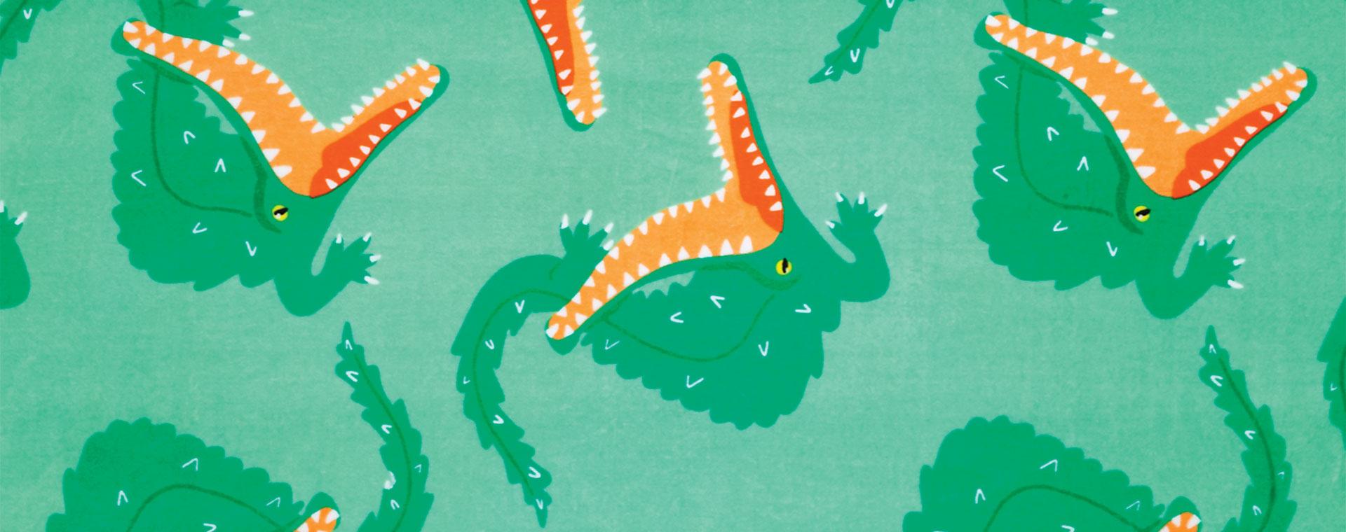 Green Sunnylife Crocodile Print Towel