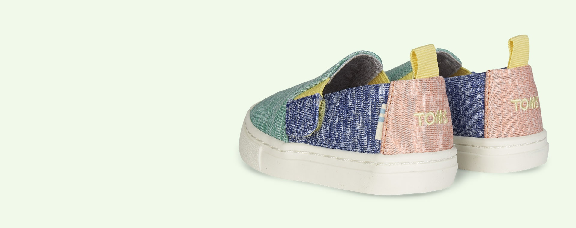 Mint Multi TOMS Recycled Luca Slip On Shoe Block Colour