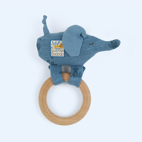 Elephant Moulin Roty Ring Baby Rattle