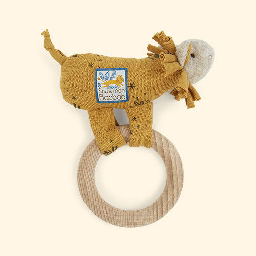 Lion Moulin Roty Ring Baby Rattle