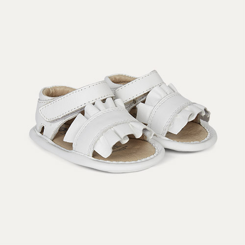White old soles Ruffle Baby Soft Sole Sandal