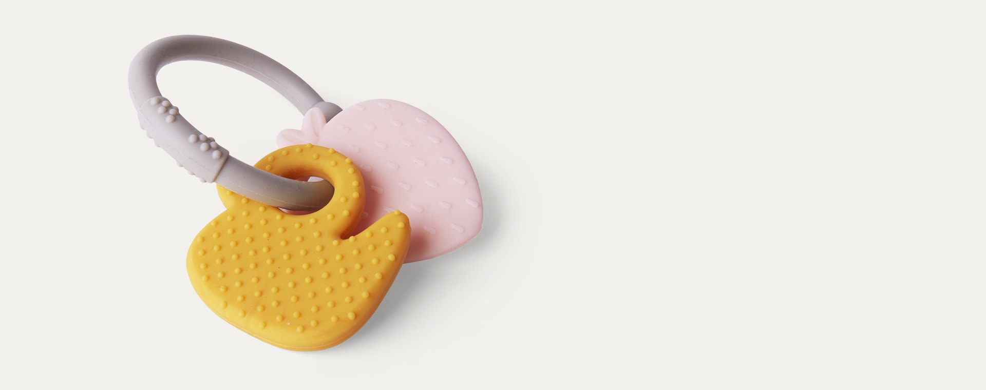 Strawberry & Duck Nattou Activity Silicone Rattle