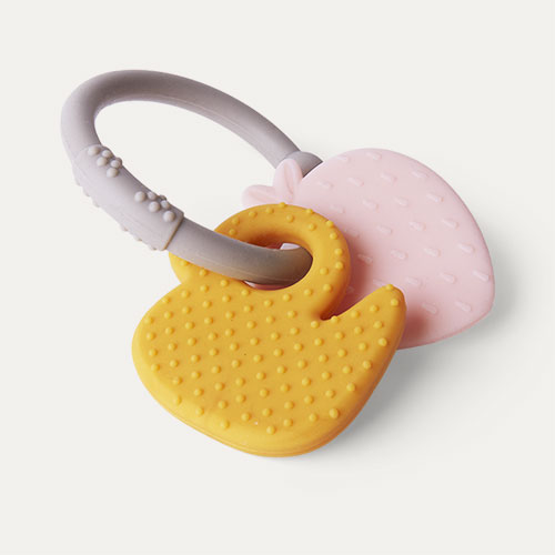 Strawberry & Duck Nattou Activity Silicone Rattle