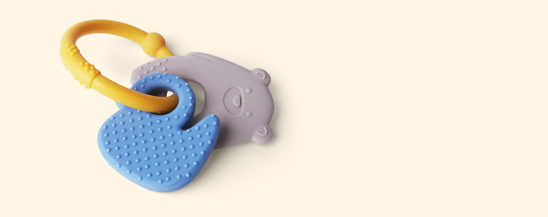 Grey Bear & Duck Nattou Activity Silicone Rattle