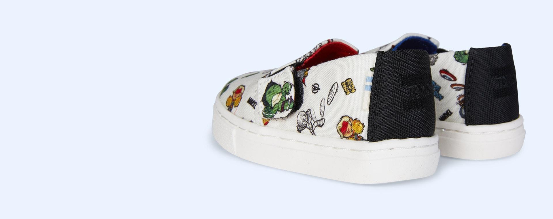White TOMS Marvel Luca Slip On Shoe